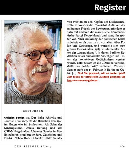The Eyecatcher Blog  Trauer Um Christian Semler