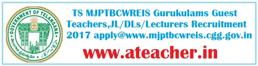 TS MJPTBCWREIS Gurukulams Guest Teachers,JL/DLs/Lecturers Recruitment 2017 apply in www.mjptbcwreis.cgg.gov.in