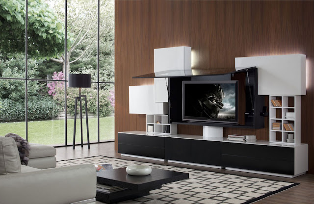 awesome entertainment center ideas with modern black and white credenza combined with 3d tv also big pattern area rug