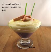 Crema de coliflor y patatas violeta con foie
