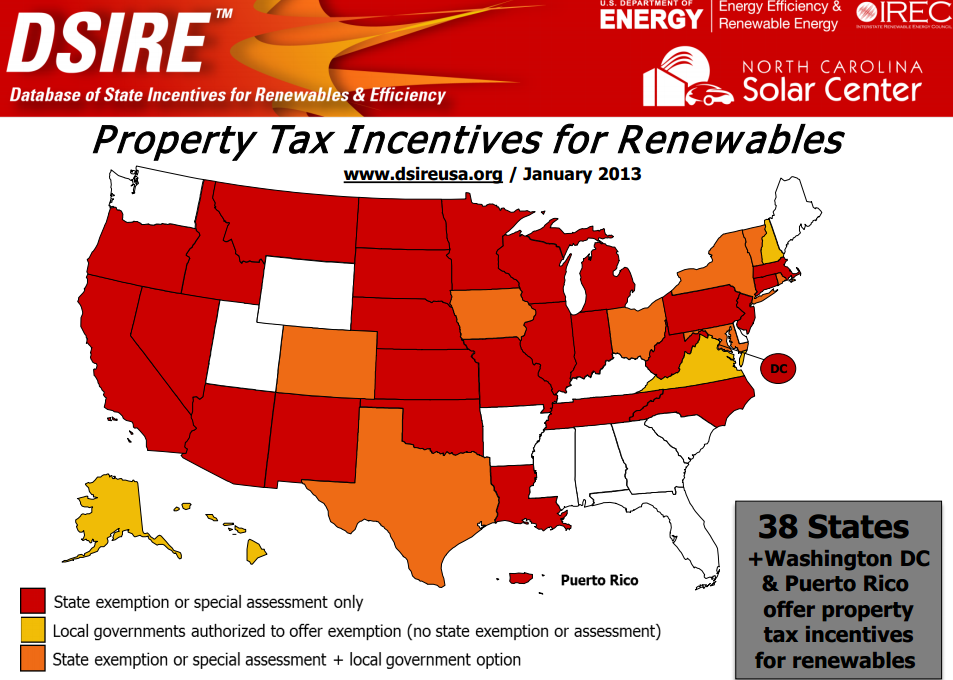 Property tax incentives for solar roofs map from 2013