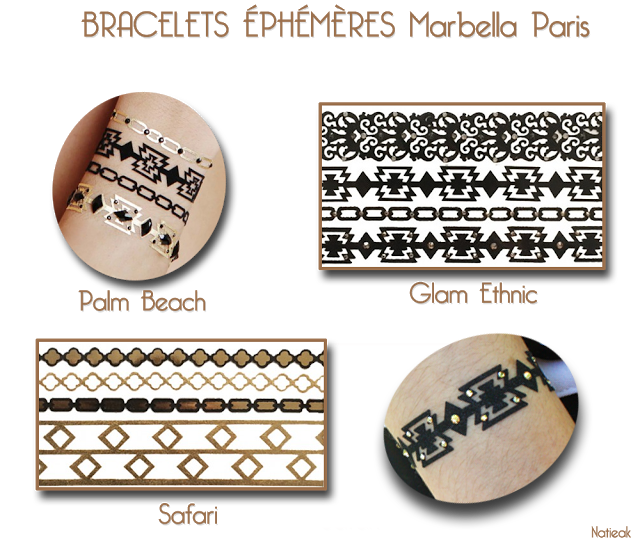 bijoux éphémères Marbella Paris: glam ethnic, Palm beach et Safari