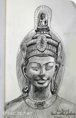 bouddha,bodhisattva,lokesvara,vietnam,chakra couronne,sculpture