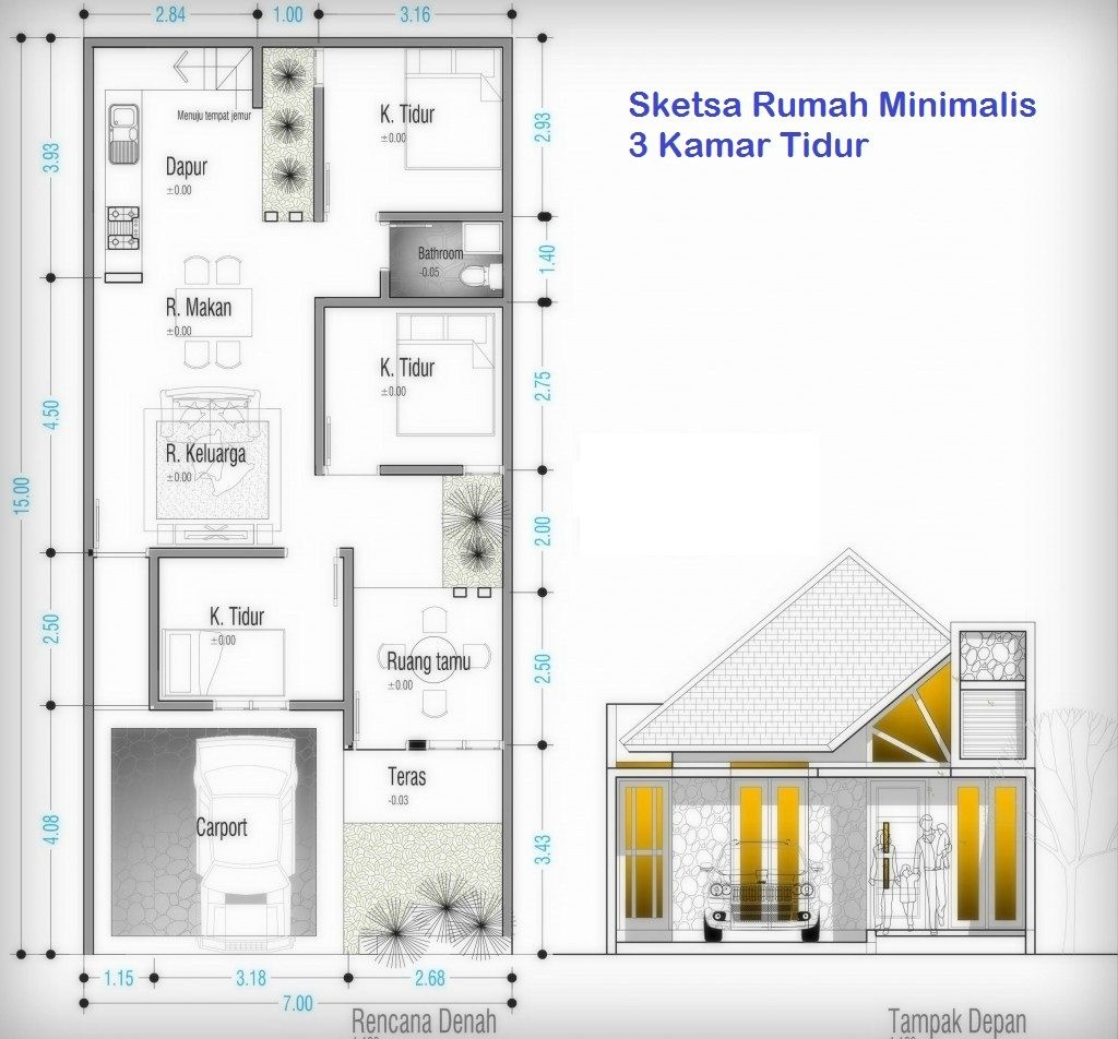 Denah Rumah 3 Kamar Ukuran 7x12 Desain Rumah Minimalis