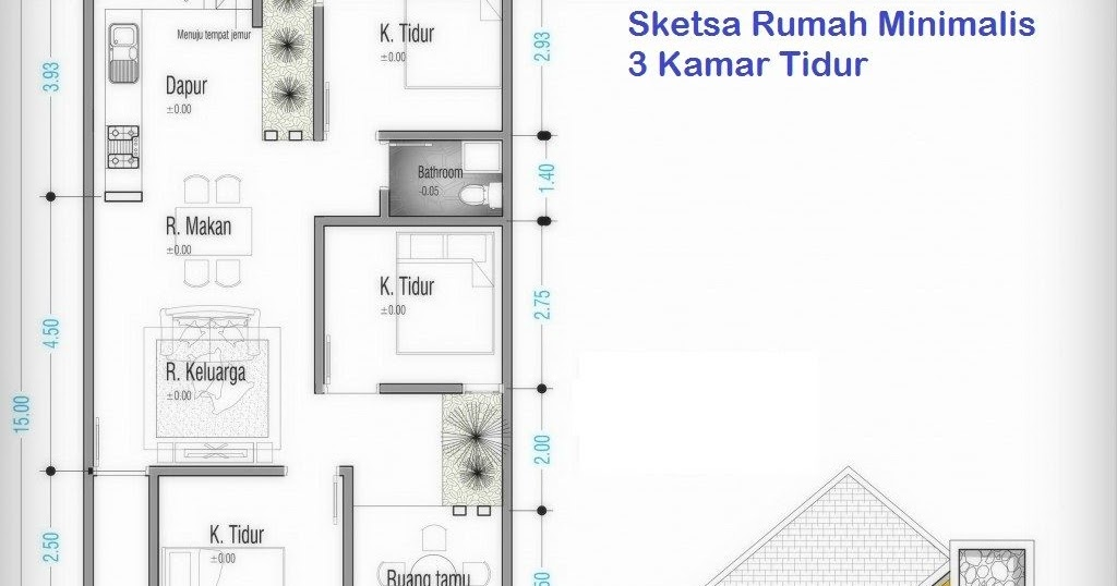 Denah Rumah Minimalis 7x12 3d Icon Rumah