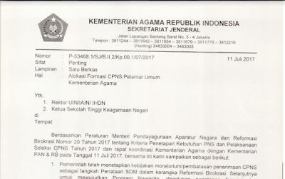 Resmi KEMENAG : Alokasi Formasi CPNS Pelamar Umum Kemenag 2017,, Cek Segera...