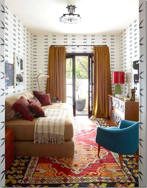 Gorgeous pumpkin curtains and accents in colorful chic room - Fall decor inspiration
