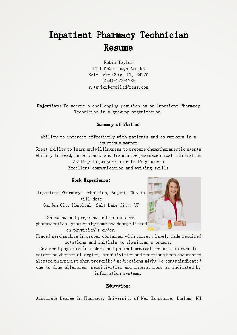resume samples  inpatient pharmacy technician resume sample