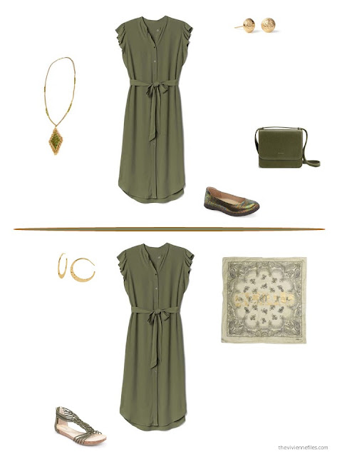 two ways to style an olive dress for summer