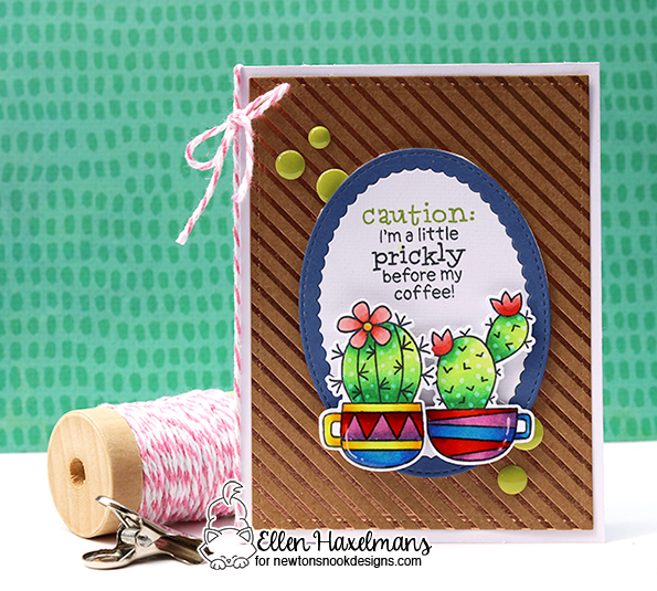 Coffee Cactus Card by Ellen Haxelmans | Cuppa Cactus Coffee and Cactus stamp set by Newton's Nook Designs #newotnsnook
