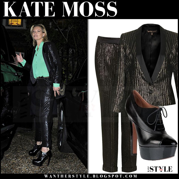ac9115de745e Kate Moss in sequin black blazer, sequin black pants and green shirt what  she wore