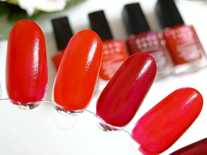 Review & Swatches: AVON True Colours Perfect Reds Nailpolish - real red - red bombshell - cherry jubilee - ruby slipper