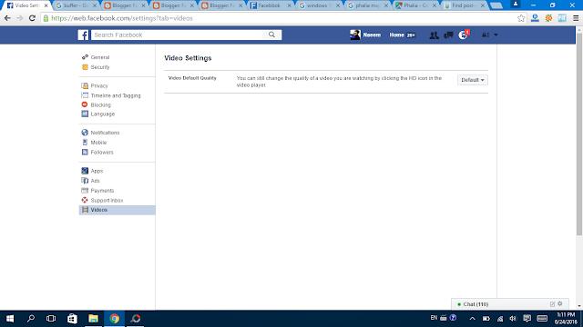 Facebook Videos Settings Video clicked - Facebbok
