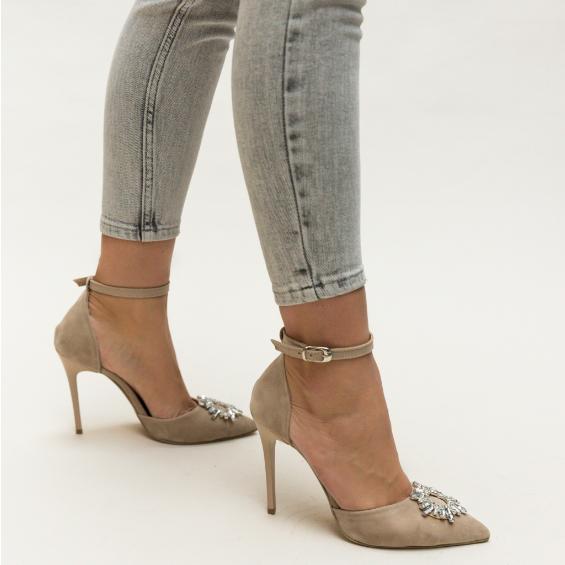 Pantofi bej decupati cu toc inalt subtire din piele co intoarsa eleganti