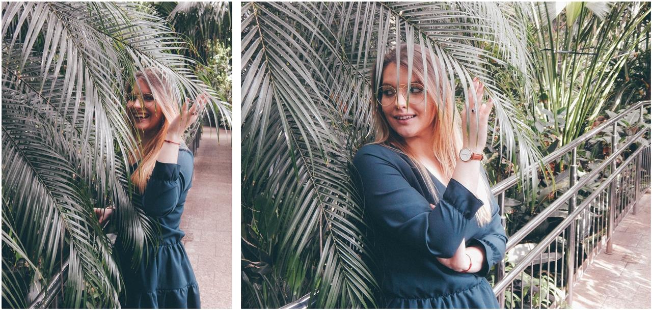 4 nagłówek mia gold zielona sukienka butelkowa zieleń z falbankami czarne muszkieterki za kolano deichmann blond fryzury modne 2018 ombre somblre daniel wellington sesja w palmiarni skórzany pasek palmy łódź