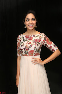 Ritu Varma smiling face Cream Anarkali dress at launch of OPPO New Selfie Camera F3 ~  Exclusive 028.JPG