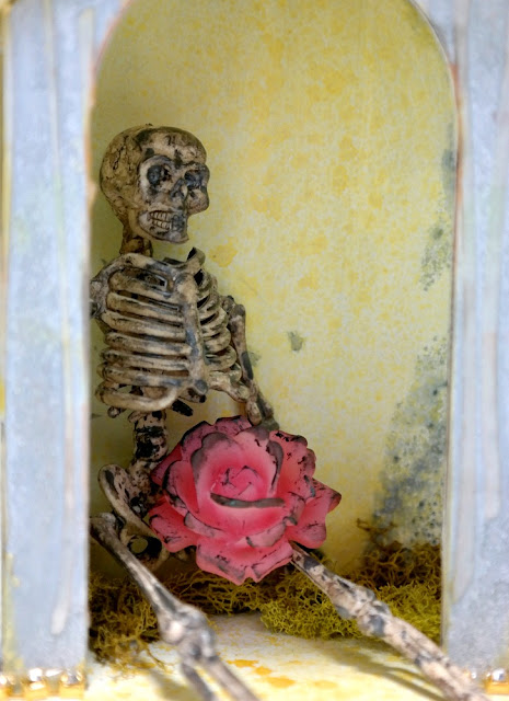 Grungy Skeleton and Misted Mold on Chipboard Shrine