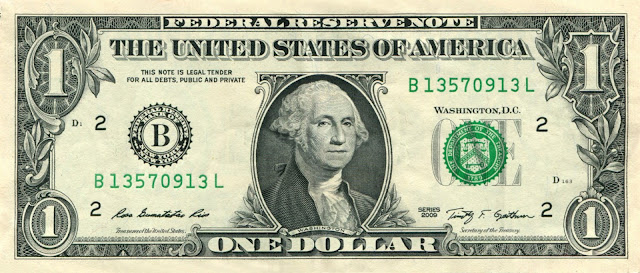 Tête de George Washington sur le dollar américain