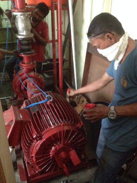 Pemindahan Mesin Pompa Hydrant untuk di perbaiki