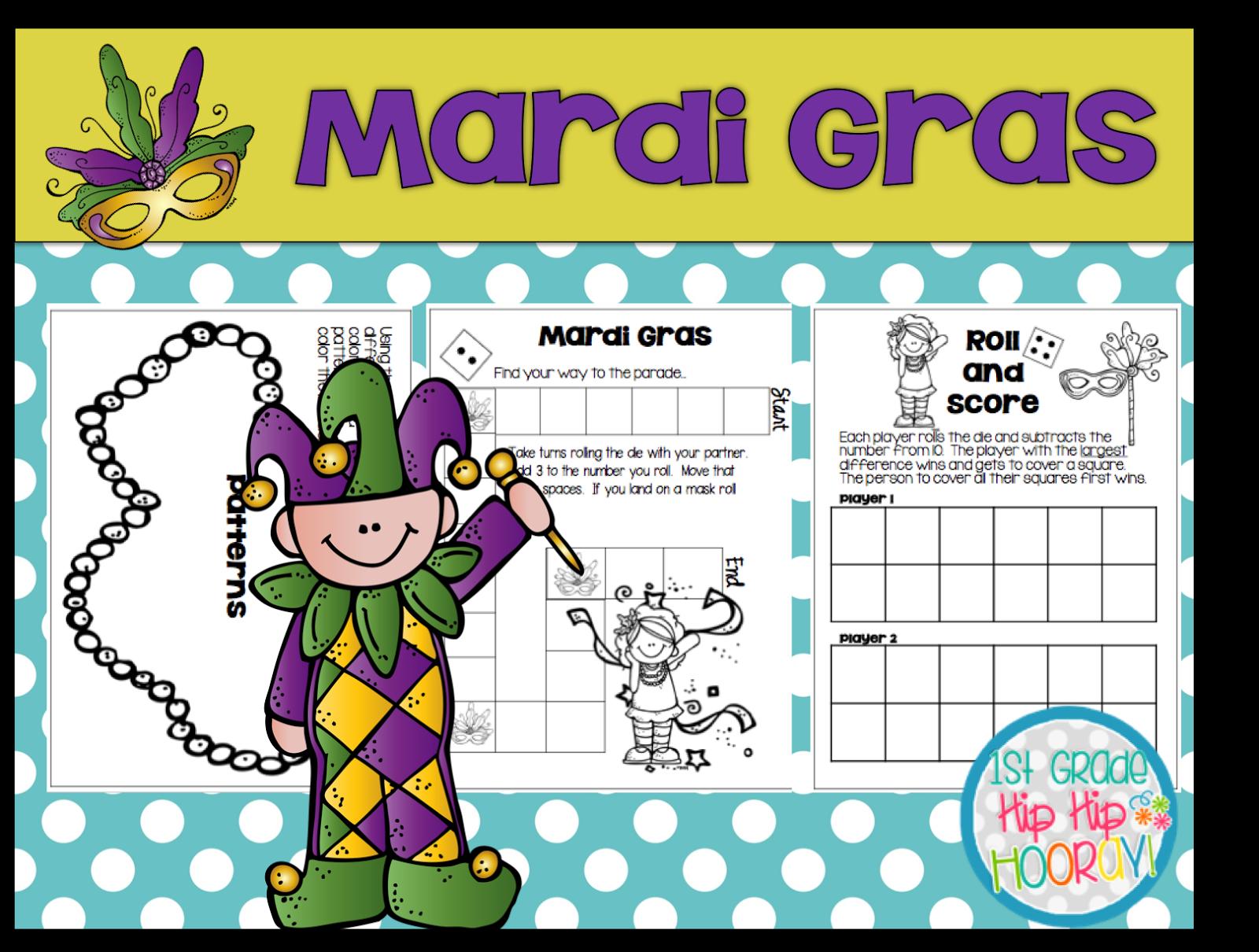 1st Grade Hip Hip Hooray Mardi Gras February 28th
