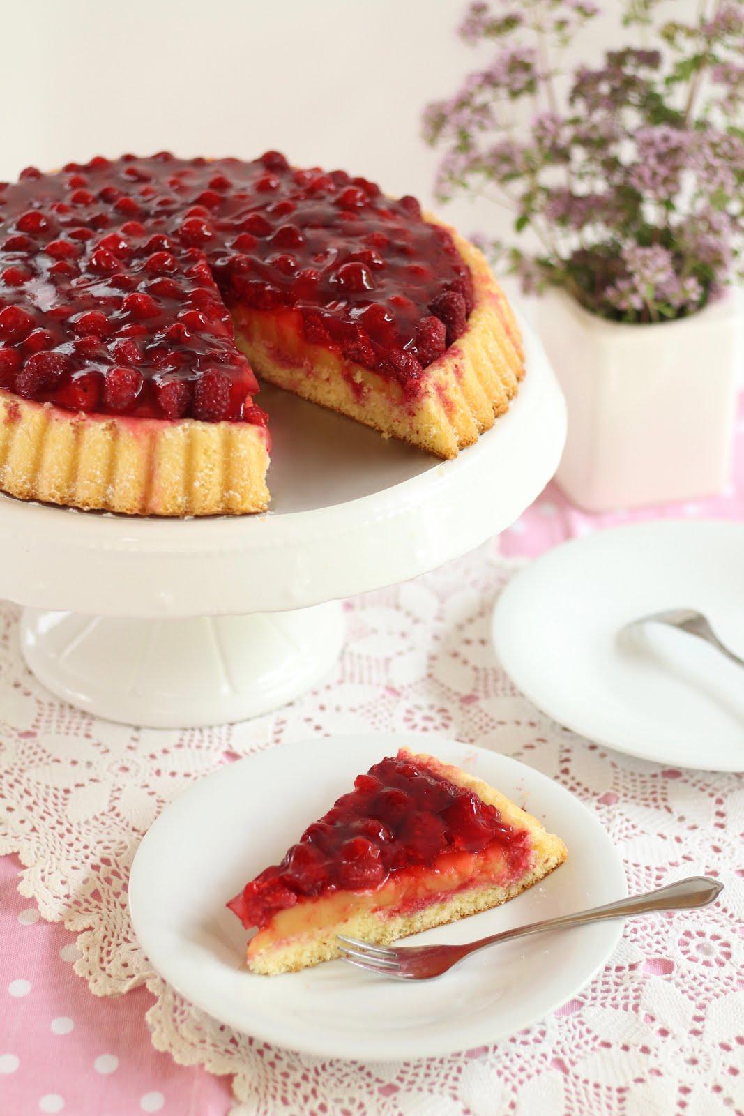 Himbeer-Vanillepudding-Kuchen | Obstkuchenboden Grundrezept | Rezept und Video