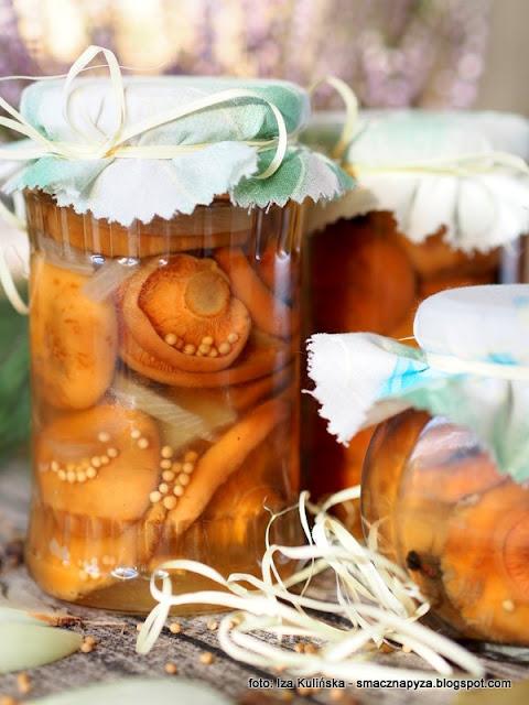 mleczaj rydz, grzybki marynowane, grzyby marynowane, marynata octowa, ocet winny, miod, marynata miodowa, przetwory, grzyny, marynaciaki, na zime, sloiki