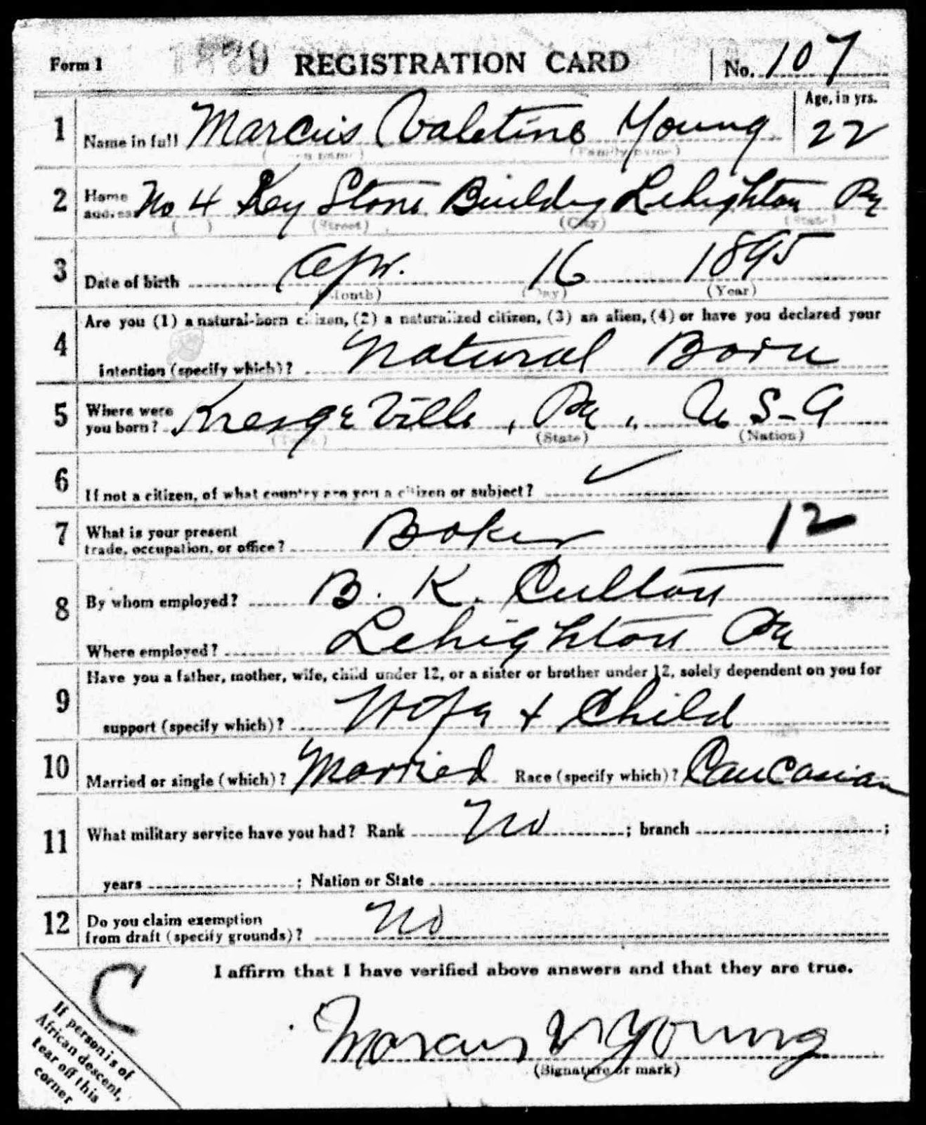 cultured carbon county Bill Clinton Speech Improvised marcus valentine young s wwi draft card