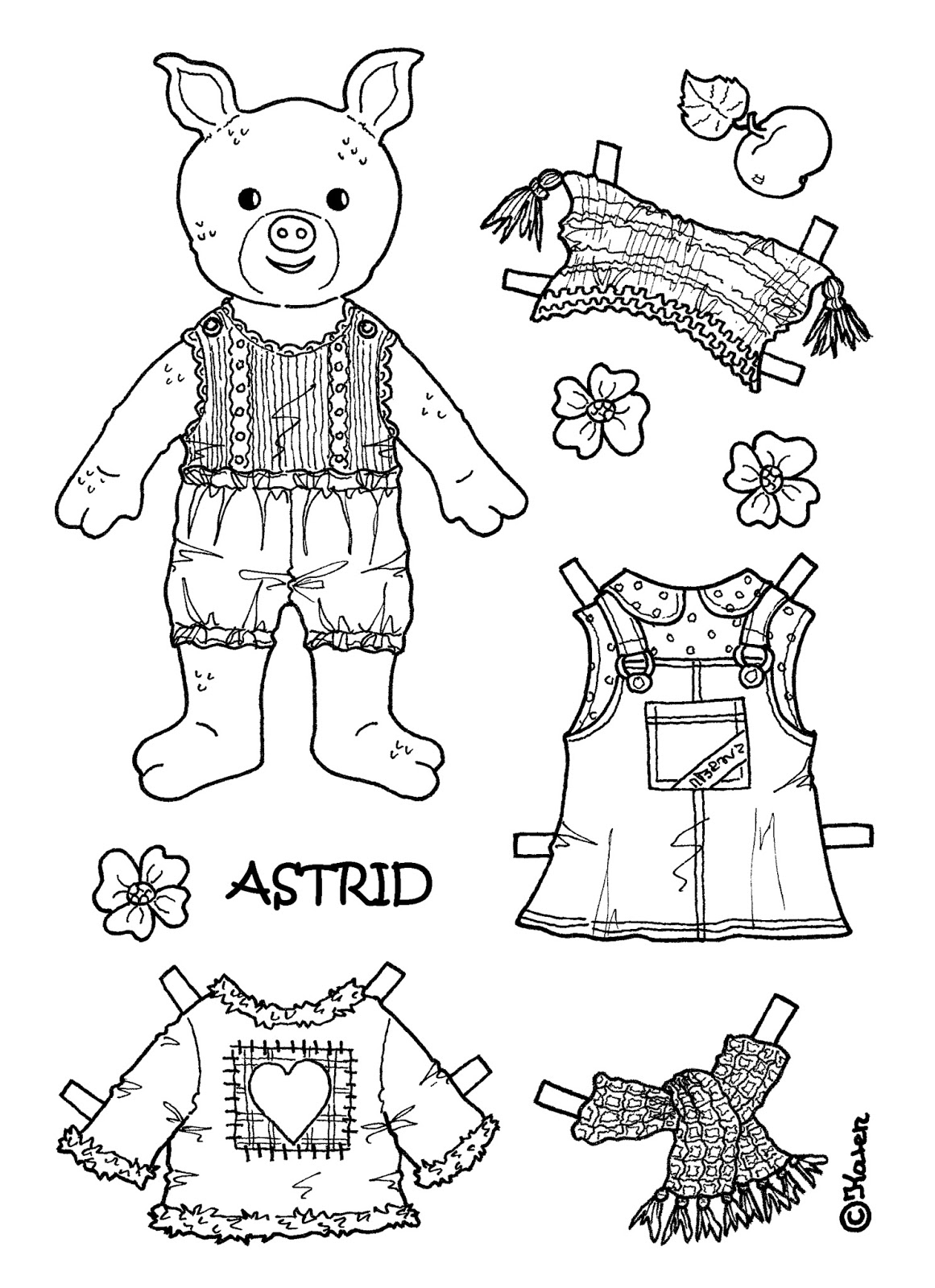 Karen`s Paper Dolls: Astrid 1-4 Paper Doll to Print and