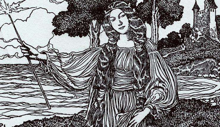 Ilustração Três grandes cavaleiros da távola redonda