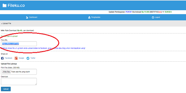 Upload file mendapatkan uang gratis dari situs Fileku