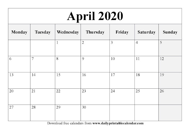 April 2020 Printable Calendar, Free April Calendar 2020, April 2020 Calendar Template