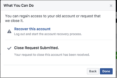 close Request for deleting Facebook account