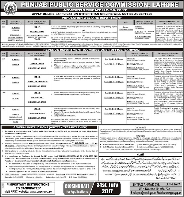 PPSC Jobs in Punjab Public Service Commission Jobs