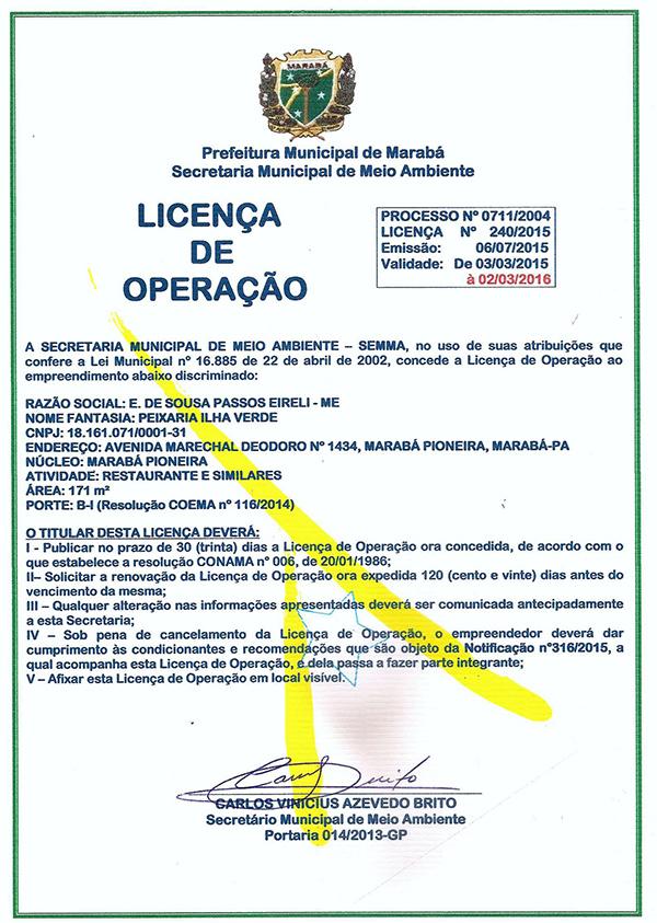 LICENÇA DE OPERAÇÃO - PEIXARIA ILHA VERDE - MARABÁ/PARÁ