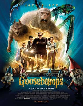 Poster Of Goosebumps 2015 Dual Audio 400MB BRRip 720p ESubs HEVC Free Download Watch Online downloadhub.in
