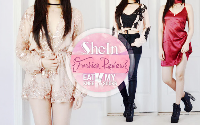 I've returned today with yet another SheIn fashion review, including a sequined champagne v-neck romper, lace-embroidered mesh crop top, and maroon silky slip dress, three of their trendy new arrivals. - Eat My Knee Socks / Mimchikimchi
