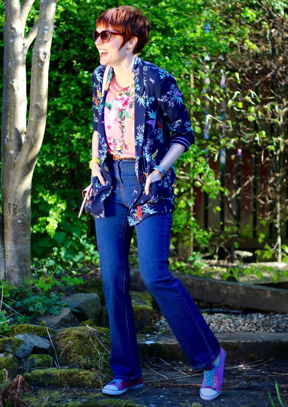 Mixing Florals | Pink Floral blouse, Navy Blazer & Bootcut Jeans | Bonmarché