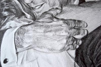 Detalle de la mano, retrato a lápiz