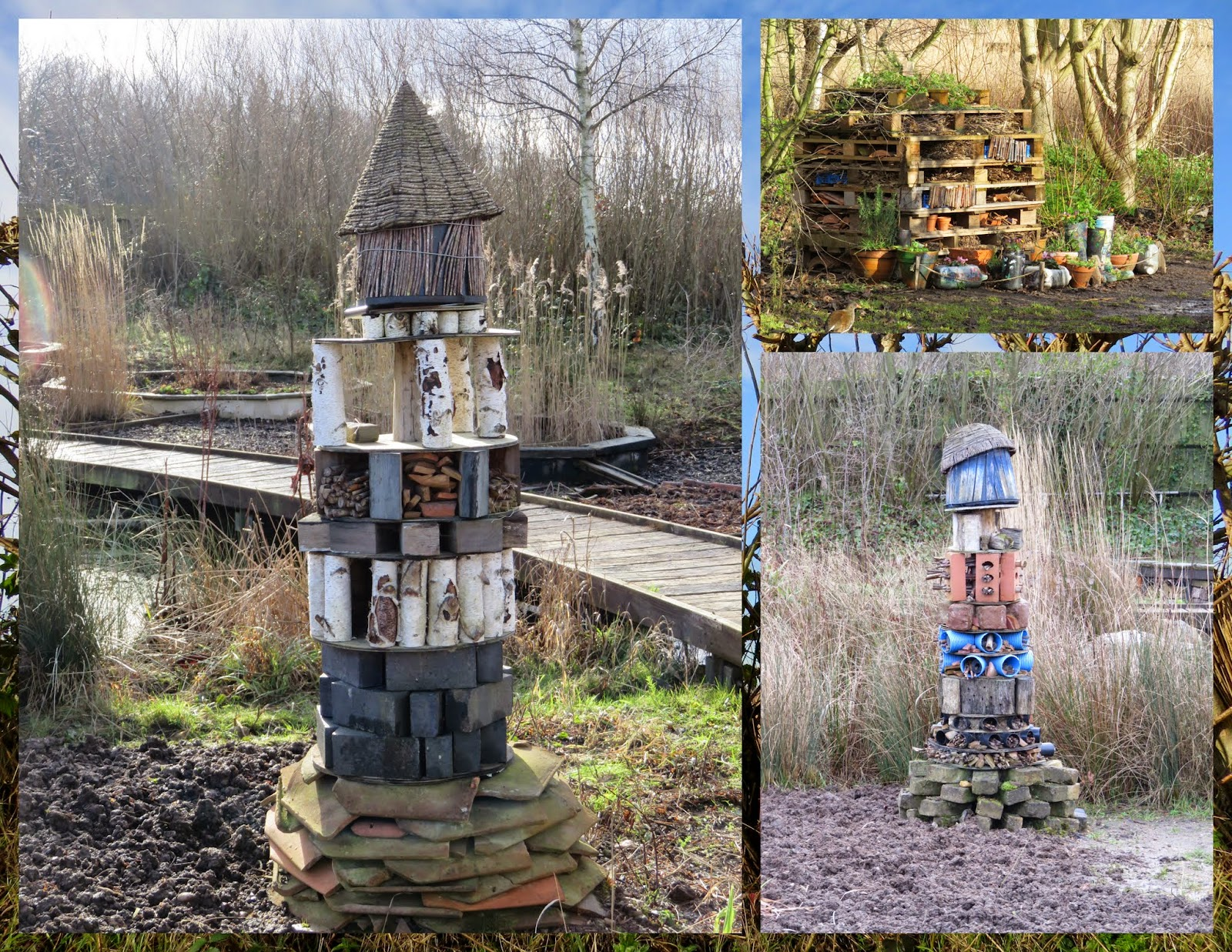 Bug hotels at the Wildfowl and Wetlands Trust London Sanctuary