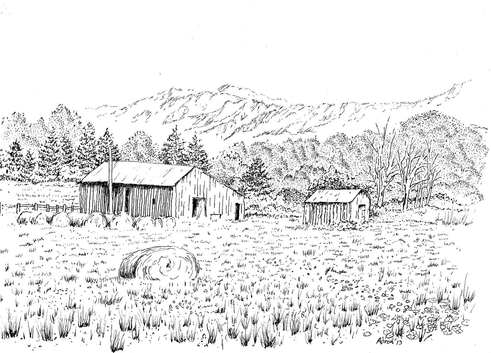 Artist Adron Rural Barn Scene In Fine Tipped Marker