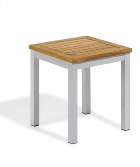 Oxford Garden Travira Aluminum and Teak End Table
