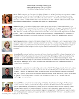 Images of students.  Alt text: Instructional Technology Council (ITC) eLearning Conference, Feb. 14-17, 2016 Rio Salado College Student Panel Bios    Ashley (Dani) Cross took her first class at Rio Salado College in the spring of 2011 and currently works as a part-time peer mentor there. She is on the waiting list for the nursing program through Maricopa Community College District. She plans to continue on with her education and earn a Master of Science in Nursing while working as a nurse. As single mother of her 7-year-old son, Eli, she finds e-learning to be a convenient way to complete her coursework while at the same time juggling life's responsibilities.  Nathan Errington is a Rio Salado College student and an active duty member of the United States Air Force assigned to Luke AFB. He graduated with his Associate in Applied Science in Computer Technology, Certificate of Completion (CCL) in Web Design, and CCL in Computer Usage and Applications through Rio Salado in spring 2015. Nathan is currently pursuing an Arizona General Education Curriculum associate degree. He is scheduled to spend a year at Kunsan AB, Republic of Korea for his next assignment and then a follow-on assignment to Misawa AB, Japan. He plans to continue his studies with Rio Salado College while being deployed overseas.  Samra Hausey started as a student at Rio Salado College in fall 2011 and became a part-time peer mentor in the Advisement department in 2014.  E-learning is a better fit for her than a traditional campus setting with flexible scheduling and delivery methods that meet her learning style. She currently is pursuing a bachelor's degree in elementary education with the goal to teach 4th grade and earn master's degree through Arizona State University.  Samantha Hill is studying healthcare innovation at Arizona State University (ASU) and is on the waiting list for the medical radiography program at Gateway Community College. Before going to ASU, she took e-learning classes at Rio Salado to earn college credits while deciding upon her educational and career goals. She is employed at Rio Salado College as a peer mentor and volunteers at the Maricopa Integrated Health System in the radiology department. In the future, she hopes study radiography and work at the Phoenix Children's Hospital or the Mayo Clinic.  Daniel Mott is a student at Rio Salado College and member of its Phi Theta Kappa. He is the father of two boys, a small insurance business owner and part-time student. He started taking classes with Rio Salado in spring 2014 and is working on an Associate in Arts. He sees his mother as an inspiration to complete his education and finds e-learning convenient for his schedule. He appreciates that he can take classes in topics he can apply to all areas of his life. Daniel plans to transfer to an Arizona university to pursue a bachelor degree in marketing or communications.  Vanessa Williams started with Rio Salado College in fall 2013. She is Rio Salado College's Phi Theta Kappa chapter president and vice president of the college's chapter of the National Society of Leadership and Success. Vanessa works as a supervisor at Warm Line, a non-emergency peer-supported telephone hotline through the non-profit Crisis Response Network. She plans to earn an associate degree and transfer to Northern Arizona University to pursue a bachelor degree in management. In the future, she hopes to create a non-profit organization to assist peer support specialists in behavior health. When she is not working or with her family, she is an advocate for the homeless.