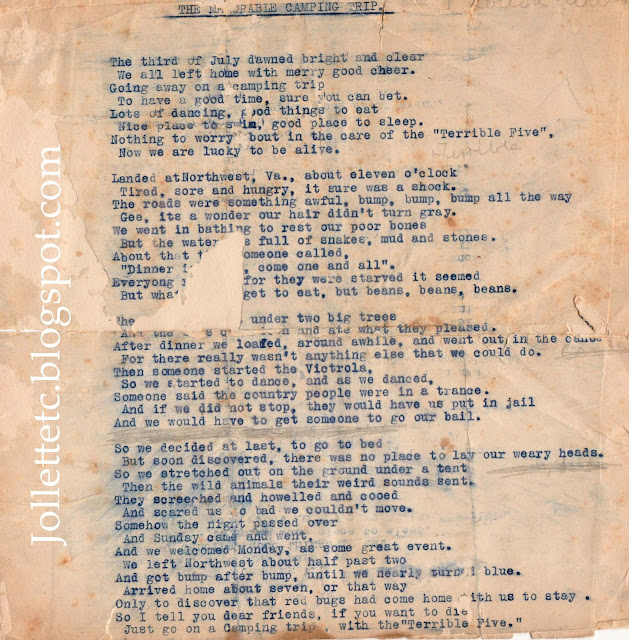 Poem about a camping trip Northwest, VA July 4, 1920 Helen Killeen Parker  https://jollettetc.blogspot.com