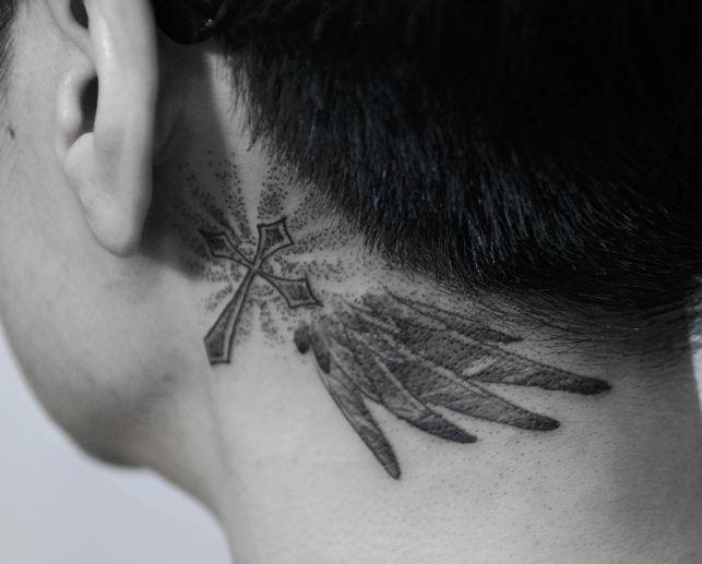 cross tattoos behind ear