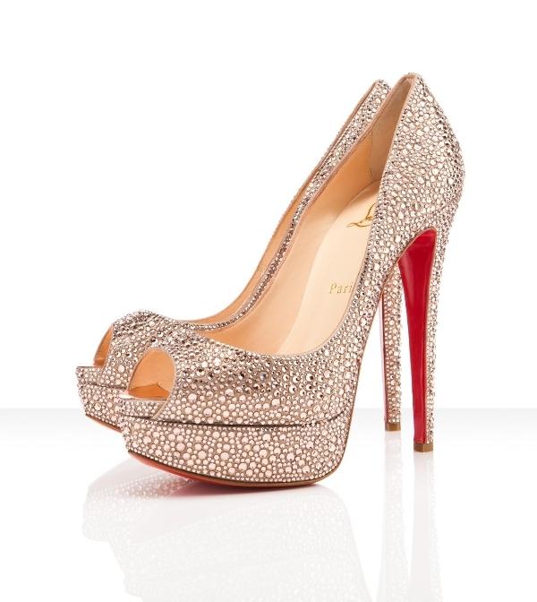 56084840a0d5 Christian Louboutin Wedding Shoes. gray silver. crystal slingback ...