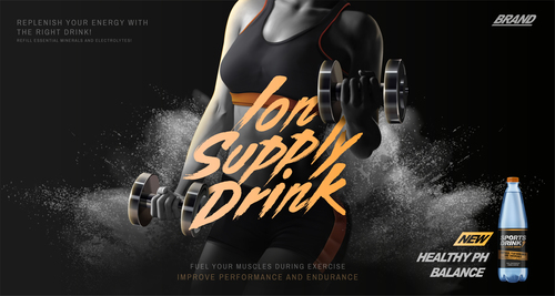 Sports drink advertising template free vector