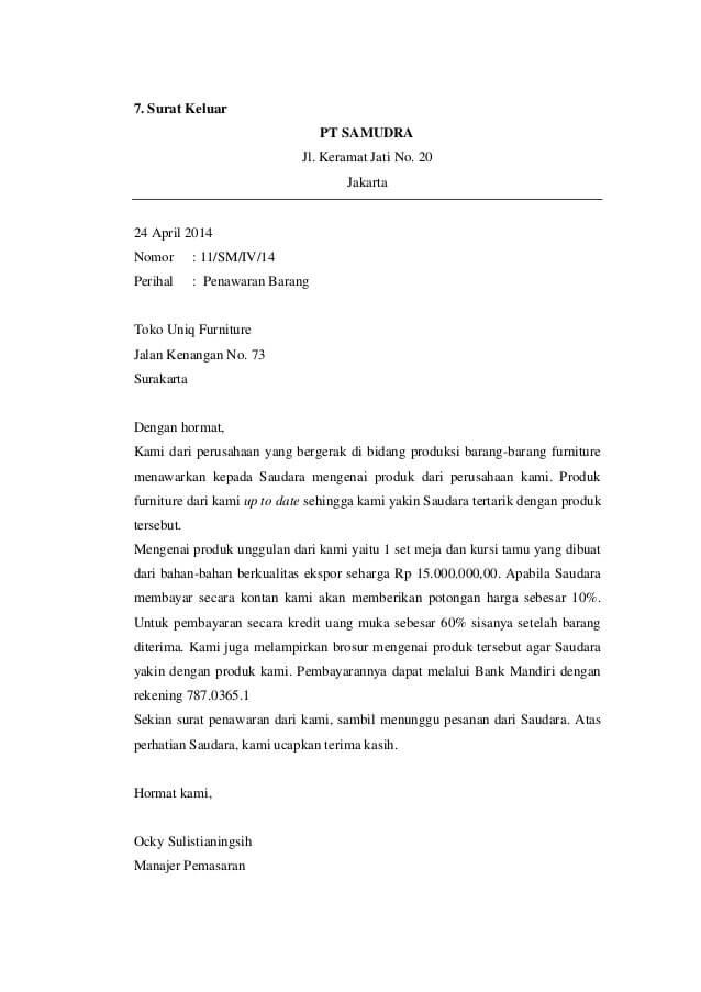 contoh surat penawaran jasa service barang furniture