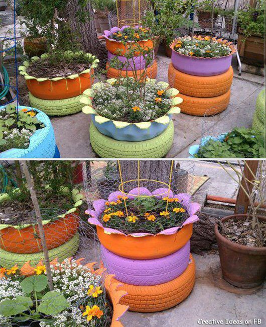 Recycled Plant Pots: Moonbeams & Fireflies: Where The Rubber Meets The (Garden