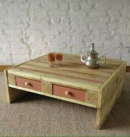 mesa con cajones hecha con pallets de madera