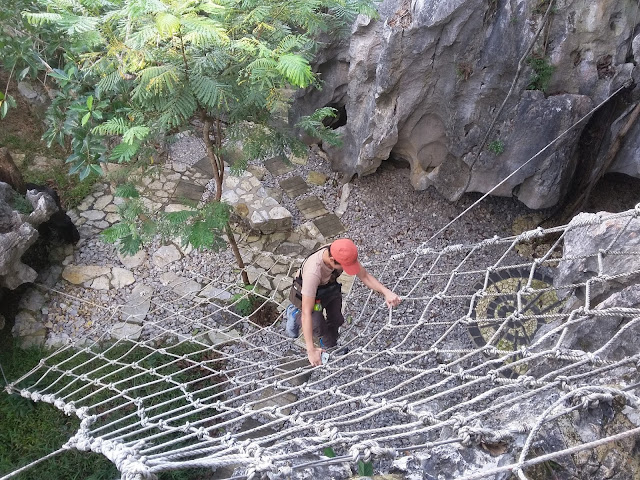 Net climbing as part of the trail